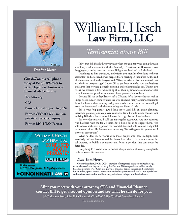 Testimonials and Reviews | William Hesch CPA Cincinnati